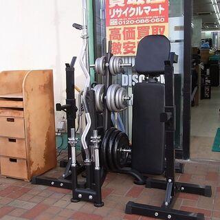 ダンベル/バーベル 140kgセット プレートラック+インクライ...