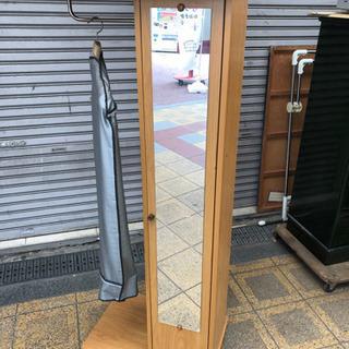 玄関収納 靴 小物 ハンガー掛け 鏡付き 高さ160