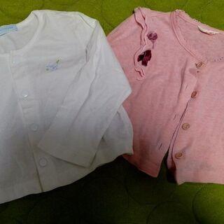 ■中古「女児カーディガン80㎝ ミキハウス含む ピンク&白 2枚組