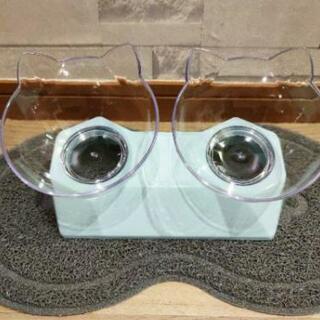 【新品】【全国発送】犬猫兼用 フードボウル エサ皿 エサ入れ 猫耳 かわいい ブルー − 東京都