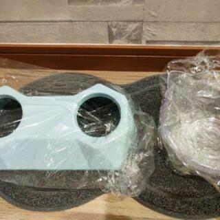 【新品】【全国発送】犬猫兼用 フードボウル エサ皿 エサ入れ 猫耳 かわいい ブルー - 生活雑貨
