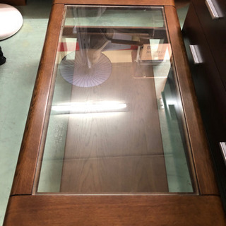 センターテーブル ガラス天板 ローテーブル 木製 ナチュラル はめ込み
