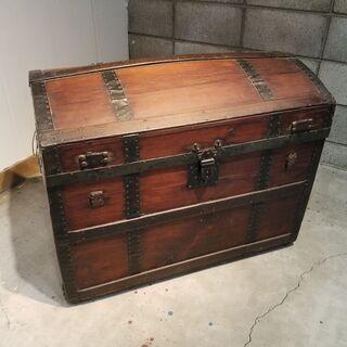 アメリカ蚤の市 アンティーク 海賊宝箱 木箱 ヴィンテー…