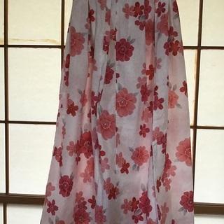 手作り 浴衣リメイク 花柄ロングスカート 87,5cm