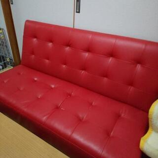 2人掛け  ソファーベッド  赤