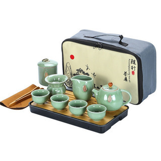 Geキルン磁器茶器セット、旅行ティーセット