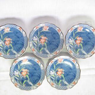 小皿5枚 花柄絵付 【未使用】