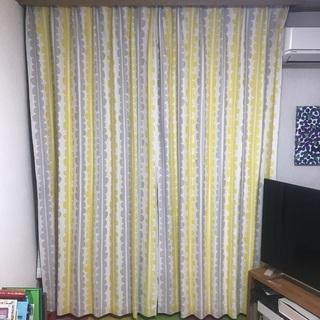 2枚組 245cm 100cm 北欧柄 カーテン 黄色 遮光2級 厚地カーテン - 家具