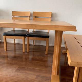ダイニングテーブル×椅子2脚×ベンチ 25000円