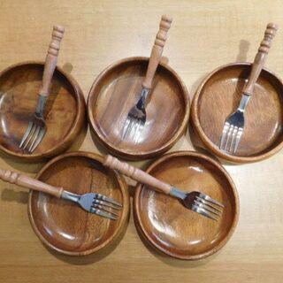 木製の器&フォークのセット