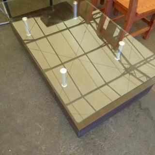 ◎HK-782 説明文必読‼️収納付きガラスローテーブル