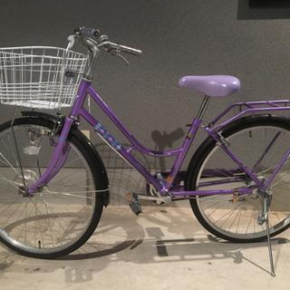 『お話し中』24インチ 子供用自転車 紫色