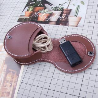 新品馬蹄型メンズ小銭入れ、本革(セピア色)系財布携帯便利