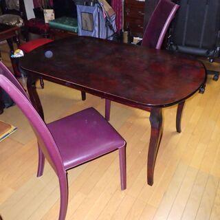 猫脚 テーブル Flag革椅子2