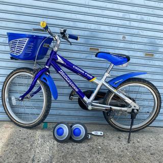 子供用 自転車 18インチ ブリヂストン ブルー 補助輪付…