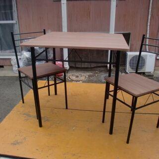 シンプル組み立て式 2人掛けテーブルとイス2脚 中古