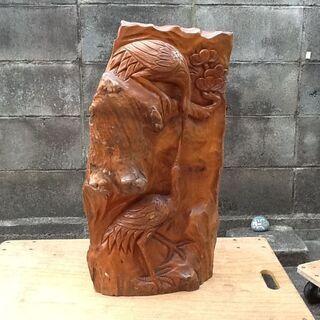 【希少1点もの?】天然木 木材の鶴ツルの彫刻 古材アンティ…