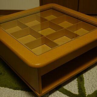 飾り棚付きローテーブル 60×60×27㎝ キャスター付