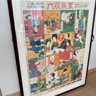 額縁 フレーム 竹久夢二のポスター 「家族双六」
