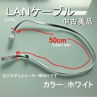 LANケーブル CAT5E 配線部長さ50cm ホワイト …
