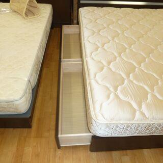 ワイドダブルベッド☆k218☆フランスベッド☆幅1600㎜☆コンセント・収納・照明付き☆近隣配達、設置可能 - 家具