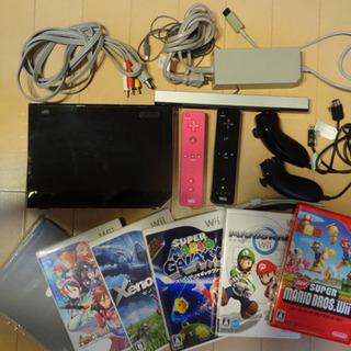 任天堂 Wii 本体 ソフト5本 リモコン&ヌンチャク2セ…