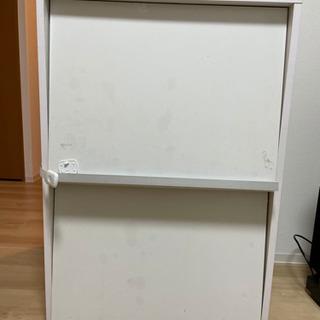 木製フラップ扉棚 白 難あり