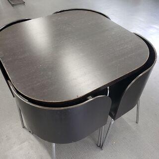 【ネット決済】テーブル 4つ椅子付き セット 黒