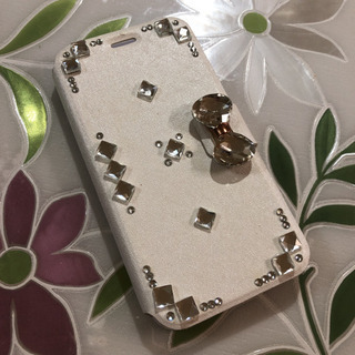 iPhoneX キラキラ スマホケース 手帳型 ホワイト ハンドメイド