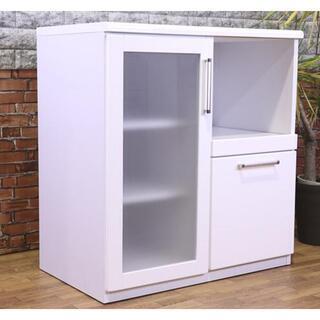 レンジボード ホワイト 食器棚 キッチン収納 扉タイプ