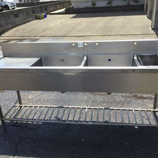 ステンレス 3槽シンク台 業務用 本体(H95cm 80cm W200cm D60cm) 厨房 店舗の画像