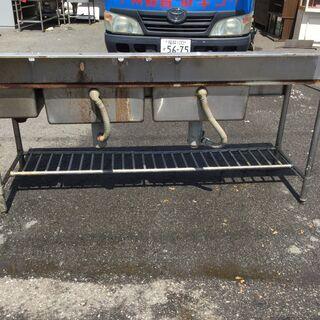 ステンレス 3槽シンク台 業務用 本体(H95cm 80cm W200cm D60cm) 厨房 店舗 - 売ります・あげます