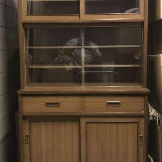 木製 食器棚 収納棚 昭和レトロ 幅91cm×奥行45cm×高さ...