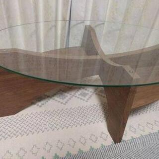 ガラス ローテーブル  オーバルテーブル 東谷 (AZUMAYA)LE-454WALの画像