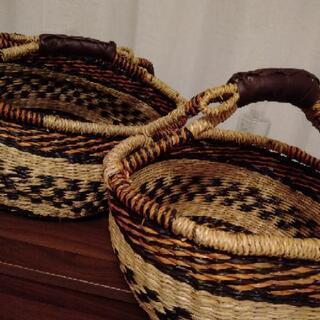 【超美品】シーグラス製 ラウンド かご バスケット 3個セット - 家具