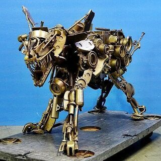 山口)オブジェ・オーナメント置物 犬 ロボット 金属部品の…