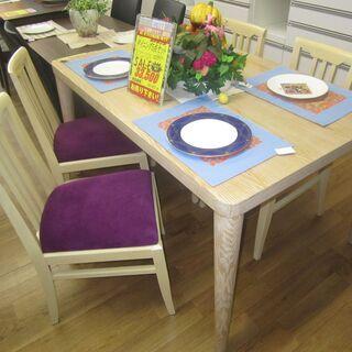 R077 国産 あすま工芸テーブル・桜屋椅子 おしゃれダイ…