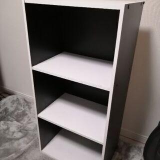 【無料】カラーボックス(白×黒)三段