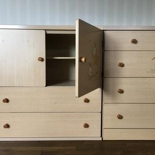 衣装タンス 木製 子供用 衣類収納 2点セット