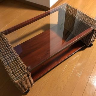 ☆アジアン家具☆ ラタンローテーブル キャスター付き ガラステーブル