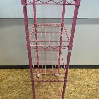 スチールラック メタルラック 4段 収納 棚 インテリア 家具 キャビネット ピンク - 家具