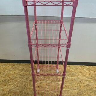 スチールラック メタルラック 4段 収納 棚 インテリア 家具 キャビネット ピンク − 富山県
