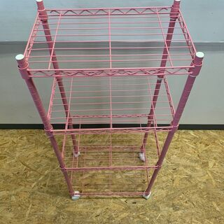 スチールラック メタルラック 4段 収納 棚 インテリア 家具 キャビネット ピンク - 富山市