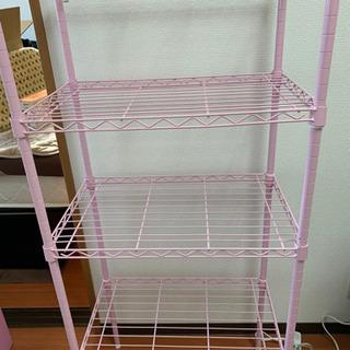 スチールラック ピンク色