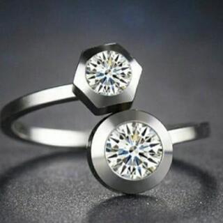 サージカルステンレス クリア スーパーCZダイヤモンド 2ポイン...