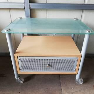 【041903】テレビ台 サイドテーブル 収納 ガラス天板…