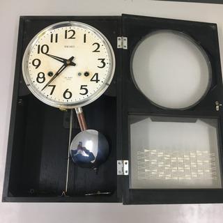 セイコー製 壁掛け時計  手巻き式 時報付き(ボンボン時計) 作動確認済みです - 家具