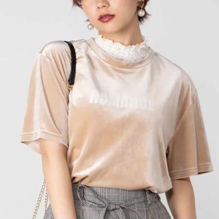 WEGO ベロアロゴTシャツ ベージュの画像