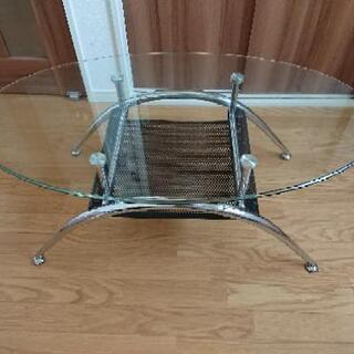ニトリ 楕円形ガラスローテーブル(黒) ※説明書なし