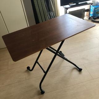 テーブル、机、100×55、クルミ、茶、チョコ、キャスター…